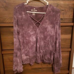 Purple Tie Dye Bell Sleeve Shirt